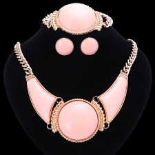Women Gold/Plated Pink Resin Round Necklace Bracelet Earring Ring Jewelry Set