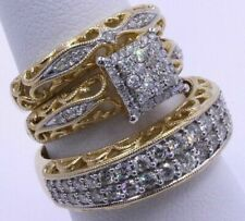 3Pcs/ Set Luxury 10K Yellow Gold  White Sapphire Ring Women Men Wedding Jewelry