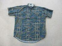 VINTAGE Ralph Lauren Chaps Button Up Shirt Adult Large Green Purple Mens 90s *