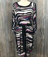 Daisy Fuentes Women's XL Multi-Stripe Dress Belted Waist Long Sleeve Scoop Neck