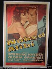 Naked Alibi 1954 Sterling Hayden & Gloria Grahame Film Noir One Sheet on Linen