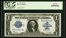 1923 $1 SILVER CERTIFICATE BANKNOTE FR-237 GEM UNCIRCULATED CERTIFIED PCGS-65PPQ