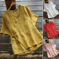 Women Linen Cotton Chinese Style Tops Shirt O-Neck Button Casual T-Shirt Blouse