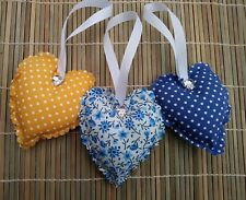 padded fabric hanging hearts blue/mustard yellow floral and polka dots bedroom