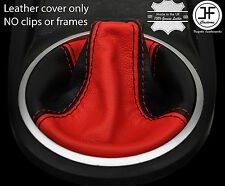 RED & BLACK LEATHER MANUAL GEAR BOOT FITS HYUNDAI TIBURON COUPE 2002-2008