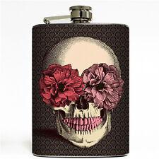 Vintage Floral Flower Sugar Skull Flask 8oz metal Liquor Flasks Pink Red Roses