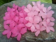 30 pce Two Shades of Pink Frosted Acrylic Lotus Flower Beads 27mm x 8mm