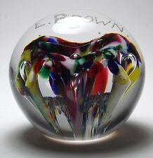 """MAGNUM ALEX STELZER LIBBEY GLASS NAME FLORAL PAPERWEIGHT """"E. BROWN"""""""