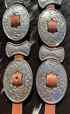 TONY LAMA Brown Genuine Leather Floral Concho Belt 28 Women's