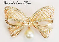 VINTAGE STYLE ART DECO ROSE GOLD CRYSTAL WITH DROP FAUX PEARL BOW  BROOCH PIN