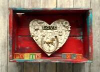 Heart Box Sculpture Mosaic Assemblage Folk Art Horse Love Hope Faith Diorama