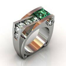 925 Silver Natural Emerald White Topaz Ring Band Wedding Gift Woman's Size 5-10