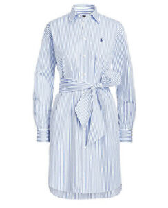 Ralph Lauren Ladies Size Uk 14 Blue & White Stripe Shirt Dress