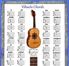 VIHUELA CHORDS POSTER 13X19 - 48 CHORDS CHART
