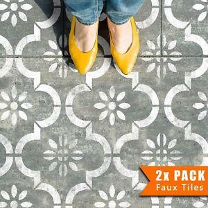2x Faux Tile Stencils - Paint Tile Effect on Floors Walls Garden Patios - Jannah