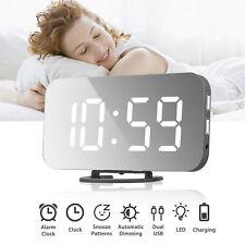 Dual USB Digital LED Clock Snooze Timer Mirror Alarm Clock Time Night Mode UK