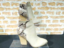 Ladies ALDO YOLANDAH Nude Leather Animal Print Ankle Boots UK 5.5 EURO 38.5 NEW
