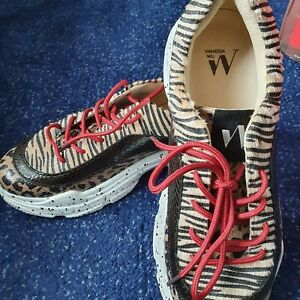 Vanessa Wu Size 6 Chunky Sole Animal Print Sneaker