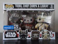 Funko Pop! Walmart Exclusive Star Wars Ewok 3 pk Teebo Chief Chirpa Logray NIB!