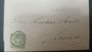 O) 1871 PERU, FROM CHALA CANCELLATION, COAT OR ARMS 1 dinero green SC 14, E.L. T