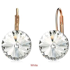 Fashion Gold Round White Zircon Dangle Drop Earring Valentine'S Day Jewelry