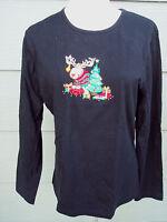 Carolyn Taylor Christmas Knit Top Sz M Black Reindeer XMas Tree Long Slve Shirt