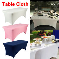 New 4/6FT Banquet Wedding Party Table Cover Decor Stretch Tablecloth Table Decor