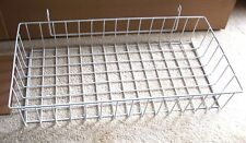 """White Wire Basket to Hang From Grid Panel Wire Grid 4""""Tall 24""""Wide 13""""Deep"""