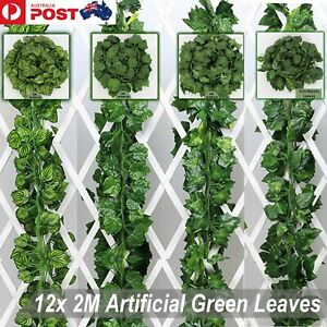 12 X 2M Artificial Ivy Vine Fake Foliage Flower Hanging Leaf Garland Plant Party