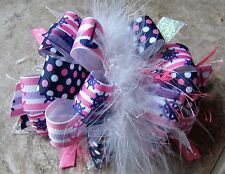 Nautical Sailboats& Anchors on Navy,Pink,& Purple Boutique Hairbow with Feather