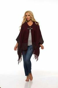 Uptown Downtown Merlot Fringe Cape Shawl Poncho With Leather Buckles