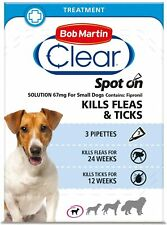 Bob Martin Clear Spot On Kills Fleas Ticks Treatment for Small Dogs 3 Pipettes