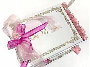 Mis Quince Años Guest Book Quinceañera Libro De Firmas with Bow Sweet 15 Gift