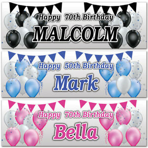 Personalised Birthday banner Balloon Star Bunting Kids Adults Party Poster