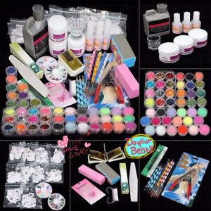 Professional Nail Art Acrylic UV Gel Powder Liquid Tips Practice Kit Full Set