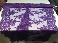 Lace Fabric - Embroidered 2 way Stretch Floral Purple For Dress By The Yard