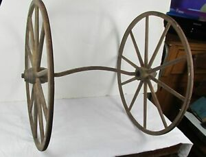 """Antique Wooden Wagon Buggy Wheels 20"""" Diameter Solid Wood Spokes 10 Spokes"""