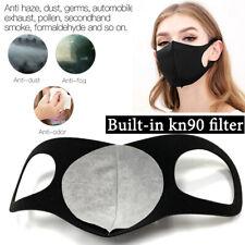 5 PACK Breathable Black SPONGE FOAM Mouth Face Mask KN90 Filter