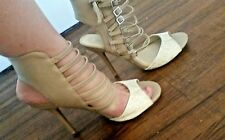 Nude white cut out ankle strap high heel 4 inches size 8, Free shipping