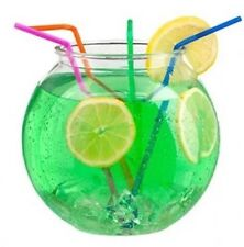 "24 X 2 Lt 6"" Cocktail Fish Bowl Plastic + 24 Straws For Drink Party, Wedding"