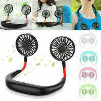 USB Rechargeable Lazy Neck Hanging Dual Mini Cooling Fan Sports Rest Portable