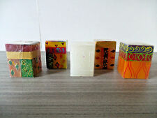 SET OF 5 KAPALA SWAZI CANDLES SOUTH AFRICA HAND PAINTED SWAZILAND CUBE LOT 2.75""