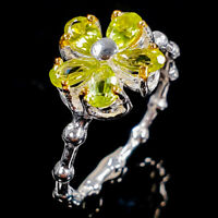 Handmade Flower design Natural Peridot 925 Sterling Silver Ring / RVS323