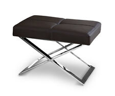 Amazing Bauhaus ottoman stool real leather & polished X legs. (Dark brown)