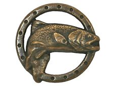 12 Trout Fish 5/8 inch ( 17 mm ) Metal Buttons Antique Brass Color