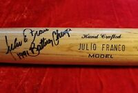 1991-93 JULIO FRANCO Game Issued SIGNED INSCRIBED Bat Texas Ranger Team Auto vtg