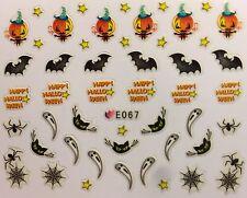 Nail Art 3D Decal Stickers Halloween Bat Black Cat Pumpkin Ghost Spider E067