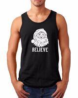 Men's Tank Top Believe Santa Claus T Shirt Christmas Xmas Holiday T-Shirt Tee