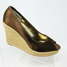 NINE WEST Women's Brown Satin Peep Toe Espadrilles size 11 Summer Zyniahl