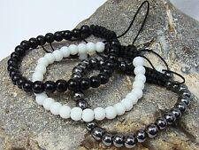 3 Women's Shamballa bracelets black glass hematite white alabaster all 6mm beads